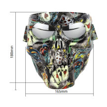 18cm Electroplating Skull Motorcycle Cycling Face Mask with Windproof Riding Goggles for Airsoft Halloween - Frame + Plating Lens