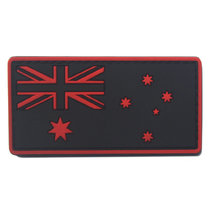 AOTDDOR 5cm×8cm PVC Australian Flag Embroidery Backpack Clothes Decoration Hook Patch - Red