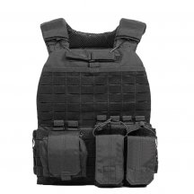Yakeda 600D Nylon Multifunctional Tactical Vest with Hidden Rescue Device - Black