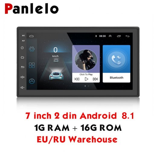 Panlelo S3 2 Din Android 8.1 Car Radio 1024x600 GPS Navigation Bluetooth USB Player 1G DDR3 16G ROM 2din Car Radio GPS Android