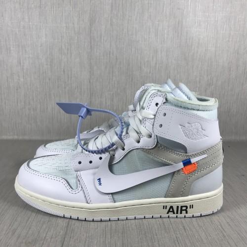 OFF-WHITE x Air Jordan 1 white joint name AJ1 White AQ0818-100