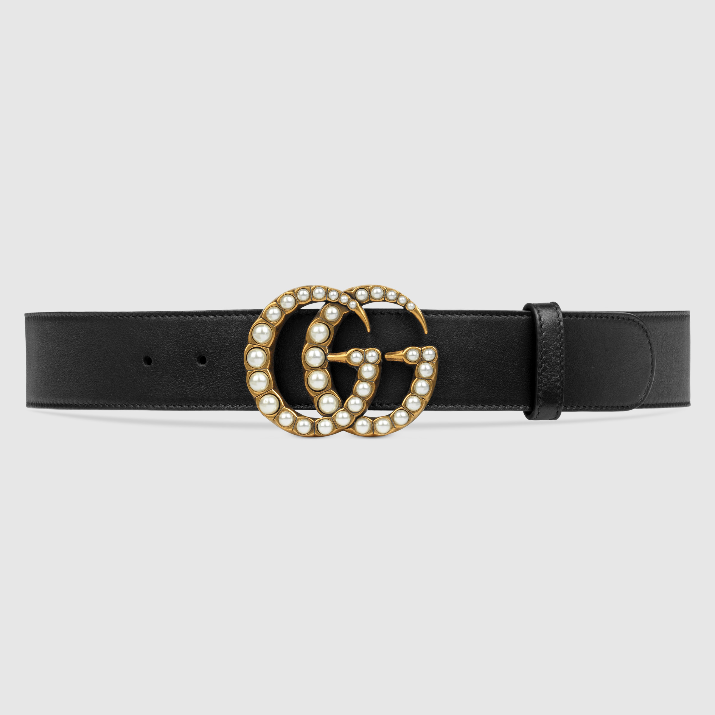 Leather Belt Double Pearl G 3.8cm  X037