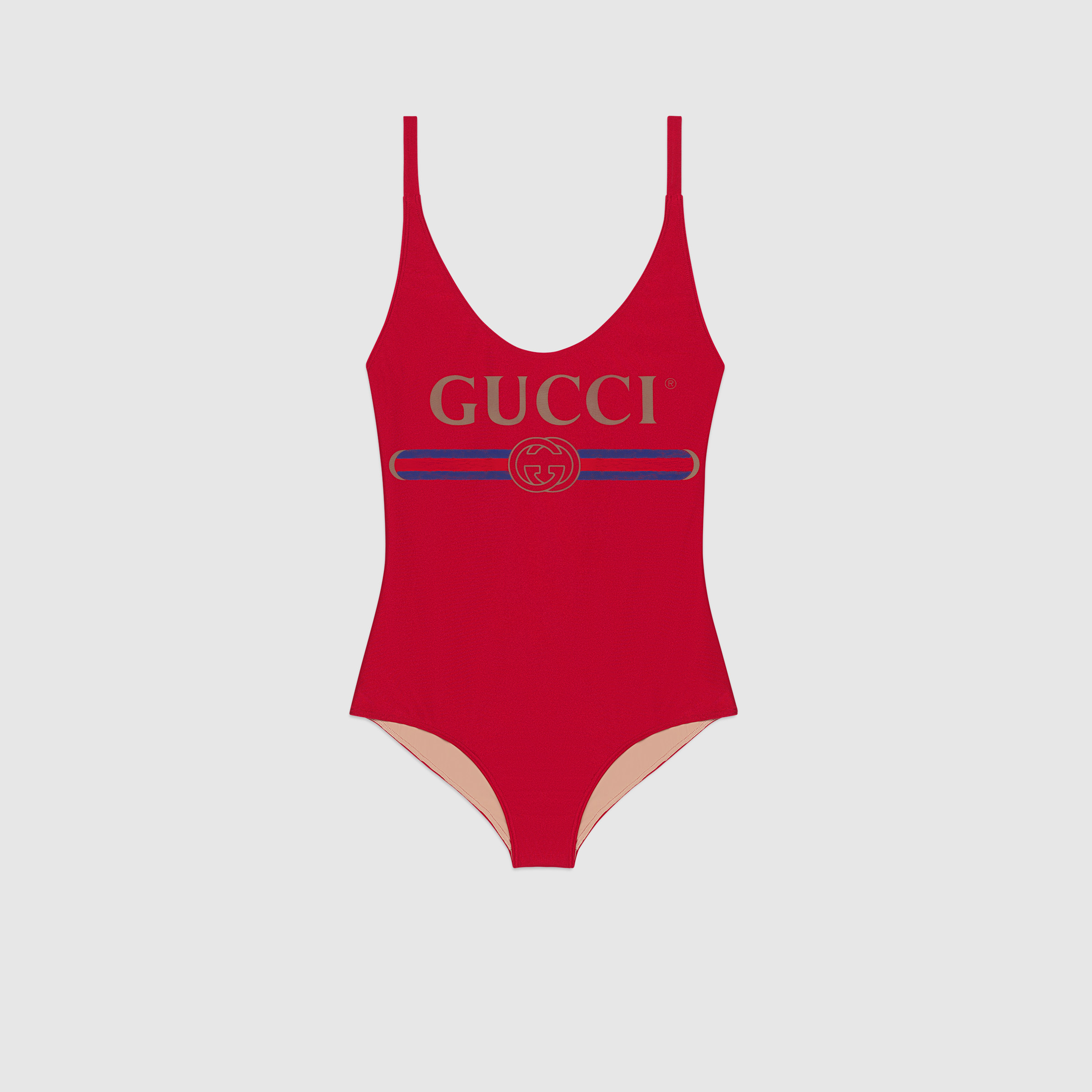 Designer red one-piece swimwear GU08