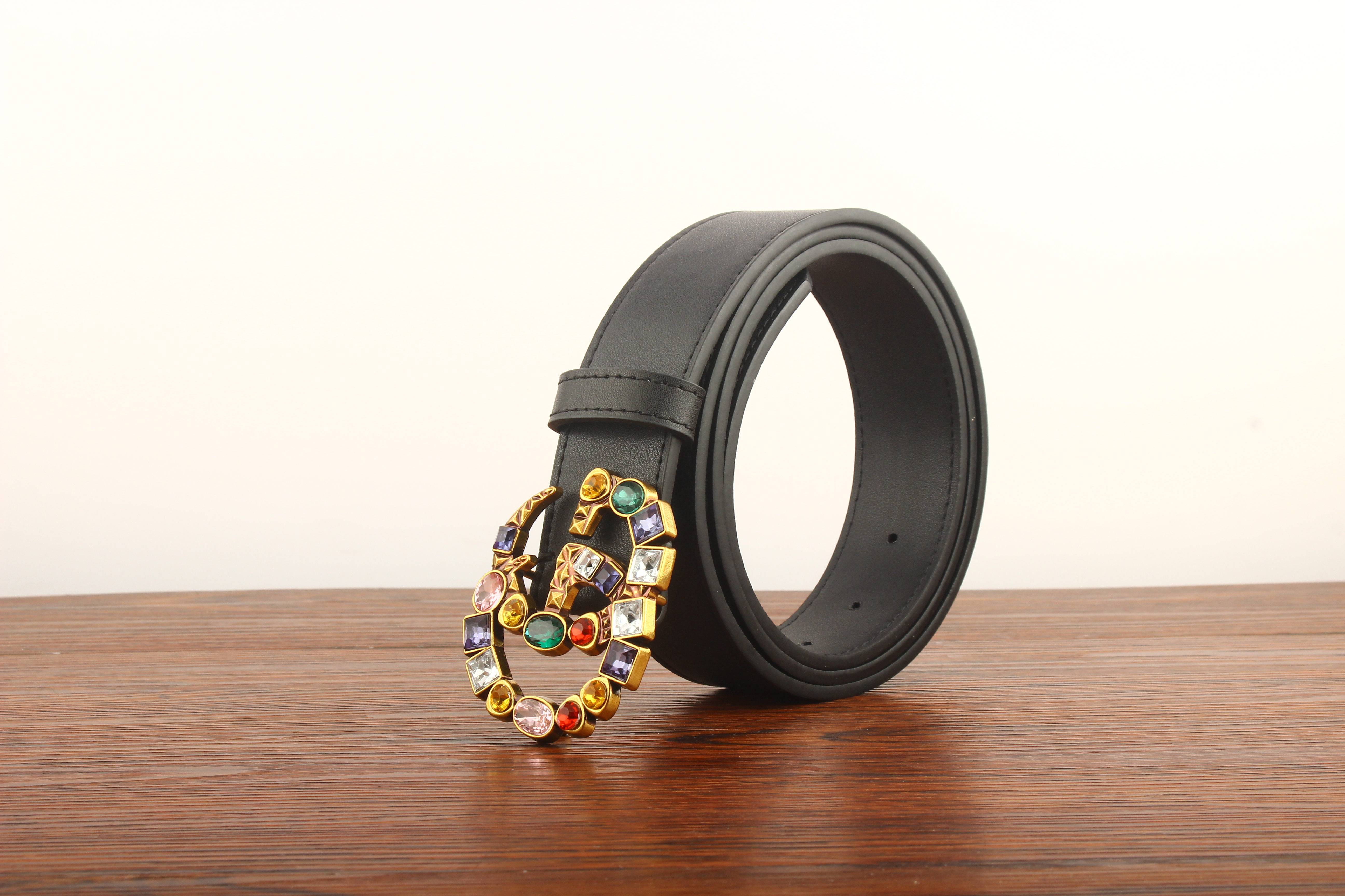 Leather GG belt with colorful crystal