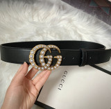 Leather Belt Double Pearl G 3.8cm