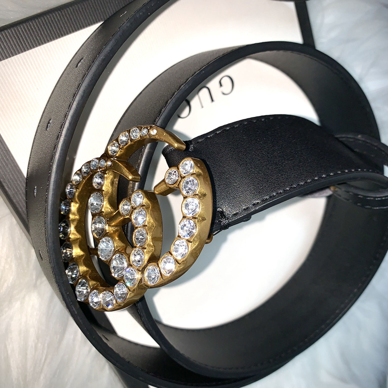 Leather belts with crystal GG BG03