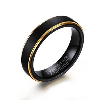 Wholesale Black and Gold Tungsten Ring for Amazon