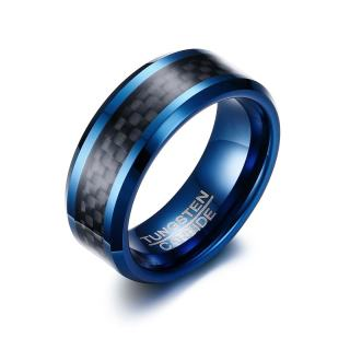 Wholesale Blue Tungsten Carbide Rings with Carbon Fiber Inlay