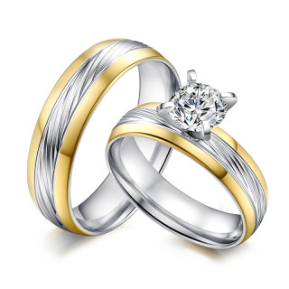 Wholesales stainless steel Engagement Ring Settings with Princess CZ