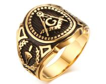 Masonic Stainless Steel Gold Plated Rings