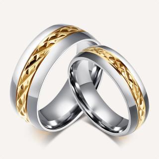 Stainless Steel Gold diamond Cut Center Wedding Ring No Stone