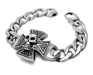 Stainless Steel Skull on Iron Cross Bracelet