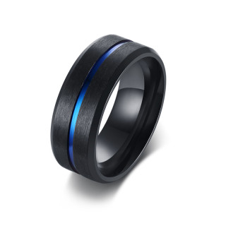 Wholesale Mens Stainless Steel Black Ring Band