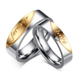 Stainless Steel Gold Forever love Band Wedding Ring for Him