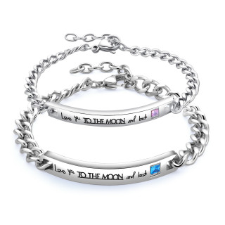 Wholesale Steel Love You To The Moon and Back Bracelet for Mens Womens