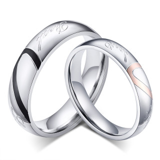 Stainless Steel Heart Match Wedding Ring Sets Cheap