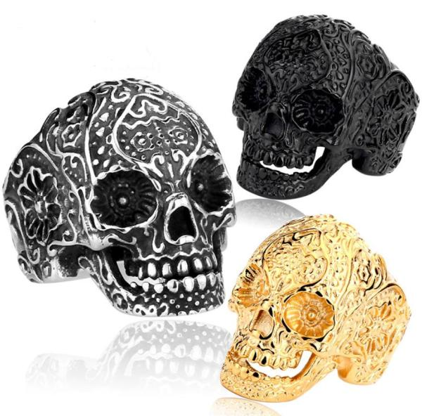 Wholesale Stainlss Steel Big Biker Jewelry Skull Ring