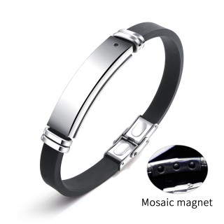 Silicone ID Bracelets with Stainless Steel Tags Wholesale