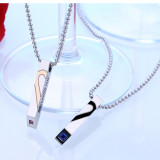 Wholesale Stainless Steel Herat Couples Necklace Set