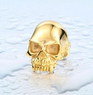 Wholesale Stainless Skull Ring IP Gold
