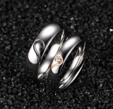 Stainless Steel Wedding Ring Engagement Ring Band Set