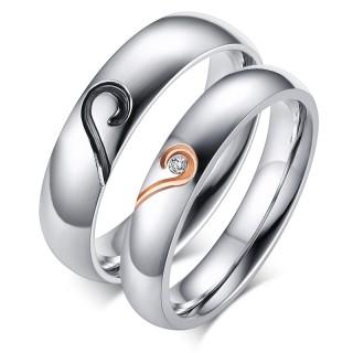 Stainless Steel Wedding Ring Engagement Ring Band Set