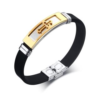 Wholesale Cheap Gold IP Stainless Steel Cross Silicone Bracelets