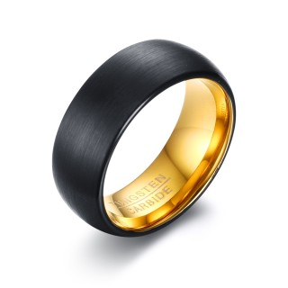 Wholesale Tungsten Carbide Two Tone Black and Gold Wedding Bands