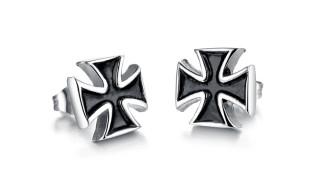 Mens Stainless Steel Iron Cross Stud Earring