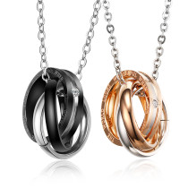 Stainless Steel Triple Ring Couple Necklace