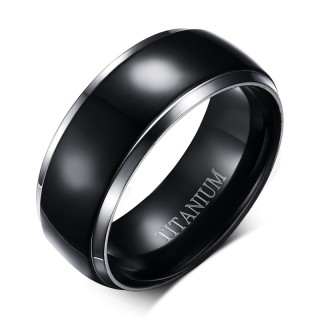 Two Tone Solid Titanium Dome Black IP Center Band Ring for men