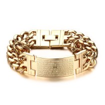 Stainless Steel Double Chain Bracelet Gold Plated for Man