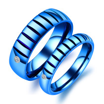 Wholesale Stainless Steel Blue IP Couple Ring Online