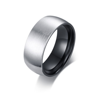 Wholesale Stainless Steel Two-tone Mens Matte Ring
