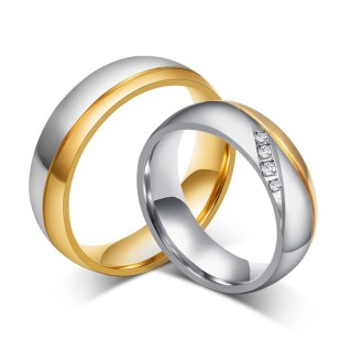 Wholesale Ebay Hot Sell Two Tone wedding rings with 3 CZs