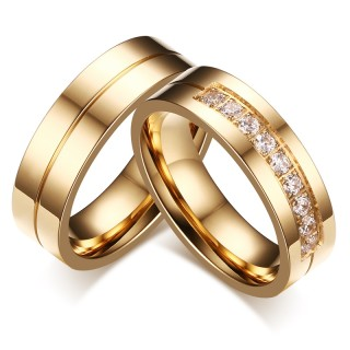Stainless Steel IP Gold Engagement band Ring with 9 CZs