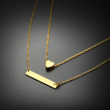 Wholesale Stainless Steel Double Heart and Bar Necklace