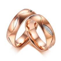 Wholesale Stainless Steel Rose Gold Couple Bands