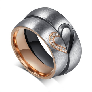 Stainless Steel Brushed Center Heart Match wedding ring sets