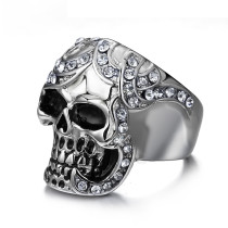Wholesale Stainless Steel CZ Women Silver Color Skull Rings