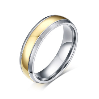 Titanium Smooth Stepped Edge with Gold IP Dome Band Ring Wholesale Supplier