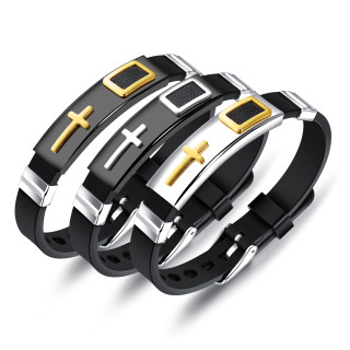 Wholesale Silicone Stainless Steel Cross Bracelet Online