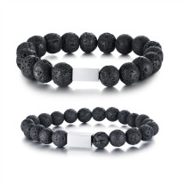 Lava Stone and Stainless Steel Bracelets Wholesale