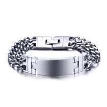 Stainless Steel Double Chain ID Bracelet Mens