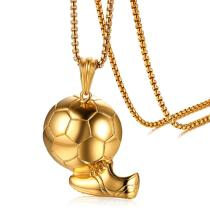 Wholesale Stainless Steel IP Gold Football Pendant Necklace