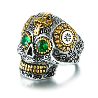 Wholesale Stainless Steel Mens Sugar Skull Ring