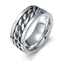 Mens Stainless Steel Rings with Chain for Amazon