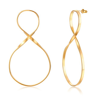 Wholesale Stainless Steel Gold Infinity Dangle Ladies Earrings