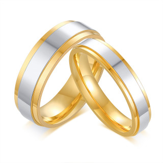 Wholesale Simple Stainless Steel Matching Couple Rings Set