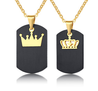 His Queen & Her King Couple Pendant Necklace Stainless Steel Crown Crystal Matching Set Wholesale
